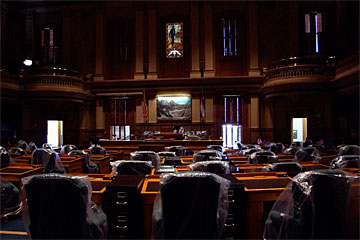 Colorado House of Representatives seats wrapped in plastic