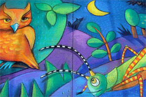 Colorful Owl and Grasshopper chalk art by Heather Brown