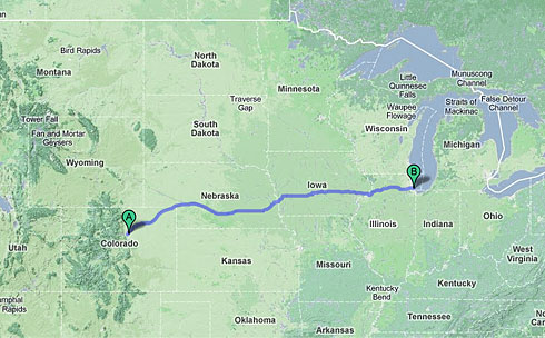 North America Map showing Route from Denver to Chicago