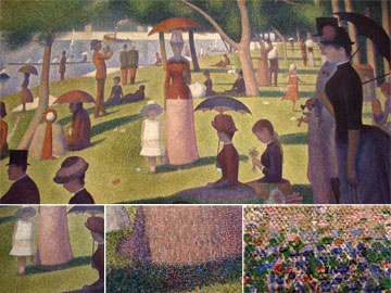 A Sunday Afternoon on the Island of La Grande Jatte by Georges Seurat magnified detail