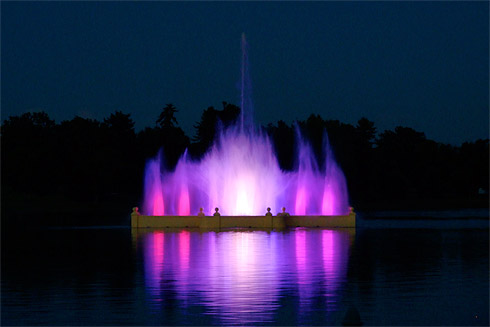 Prismatic Electric Fountain in ghost-like violet. Could this fountain be haunted?