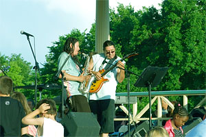Saxophone and Guitar duo on stage