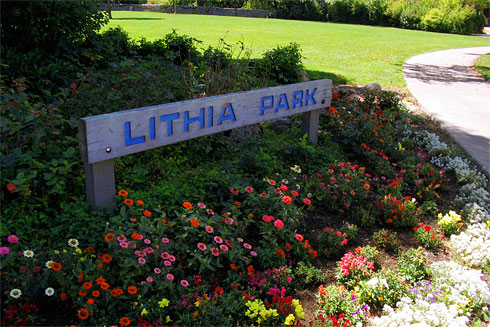Lithia Park sign with flowers below