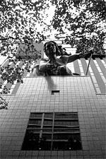 Portlandia statue overhead