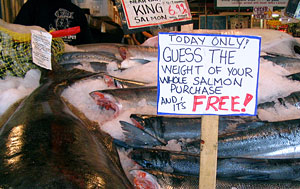 Guess the Weight of your salmon and it's FREE sign
