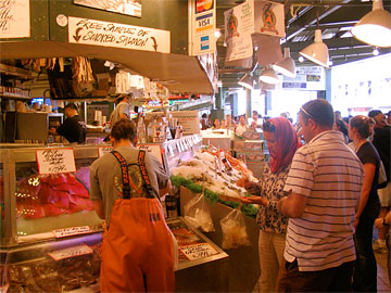 Inside Pike's Place Market near fresh fish