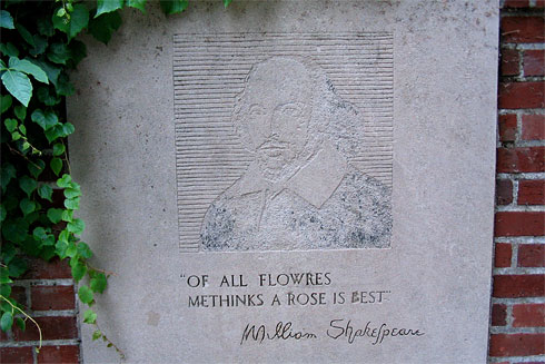 Plaque in Shakespearean Garden
