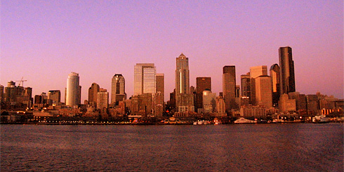 Seattle Skyline at Orange Sunset