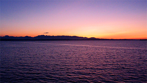 Orange and Violet Sunset over Puget Sound