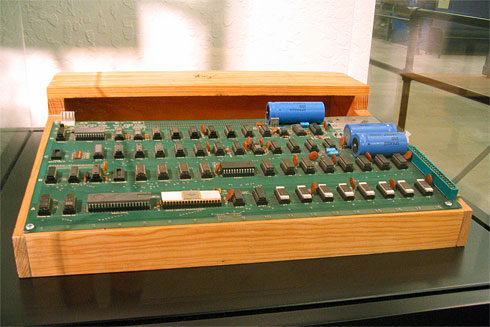 Apple-1 circuit board mounted to wood