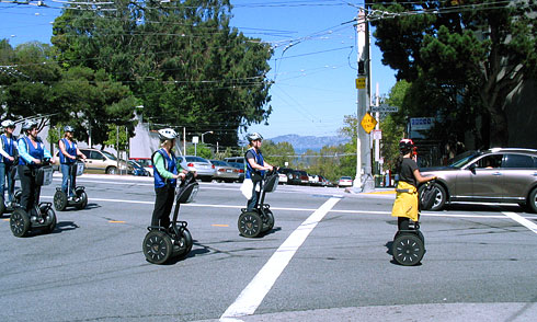 Segway tour passing by Lombard Street