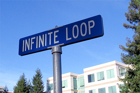Infinite Loop street sign (Apple Campus behind)
