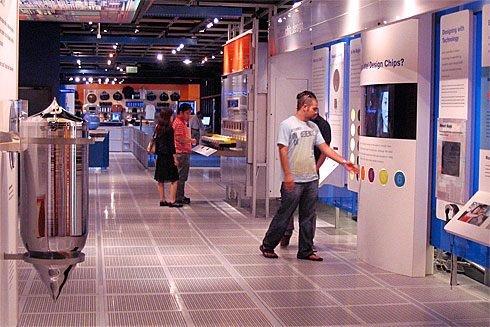 People exploring the Intel Museum