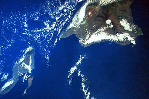 Hawaiian Islands from low orbit