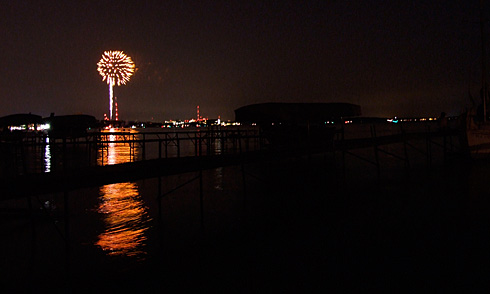 Orange Sherbet firework over Lake Mendota
