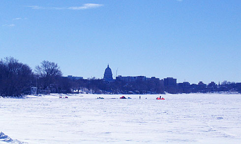 People with Tents out on Lake Mendota