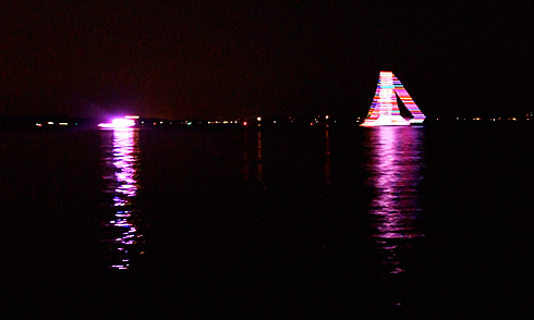 Sailboat Rainbow Light Streaks