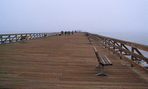 Long Wooden Pier with benches
