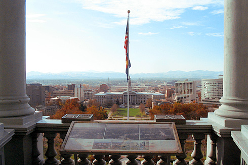 Denver City and County Building with Rocky Mountains behind