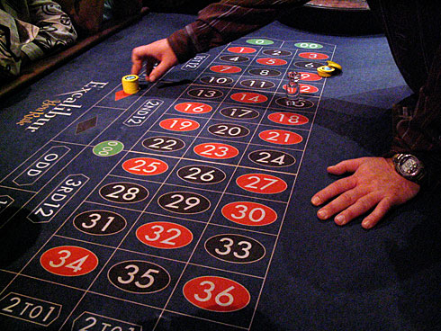 Stack of Chips on Red (during Roulette Lesson)