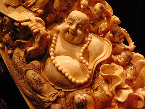 Budai (Hotai, The Laughing Buddha) carved into Chinese tusk