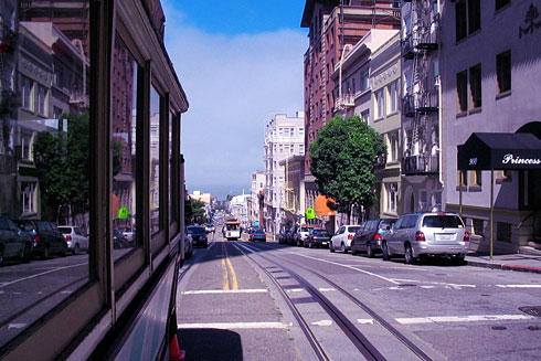 Riding San Francisco Cable Car (looking back)