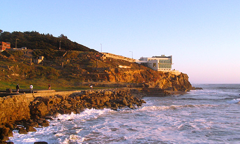 Cliff House Restaurant perched on cliff above Pacific Ocean