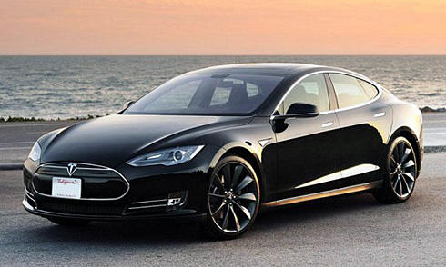 Tesla Model S on the beach