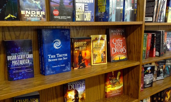 The Truth Beyond the Sky on the shelf next to Orson Scott Card!