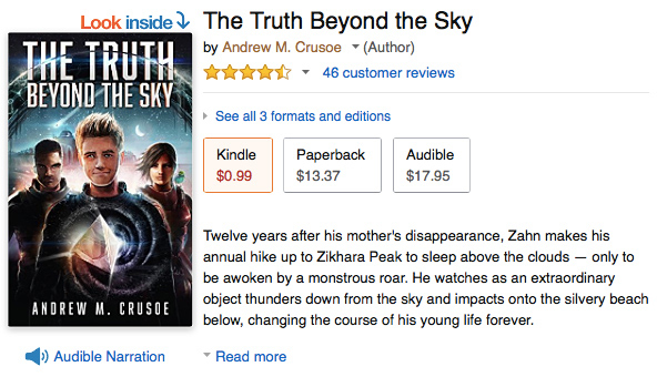 The Truth Beyond the Sky mythic sci-fi novel 99¢ deal