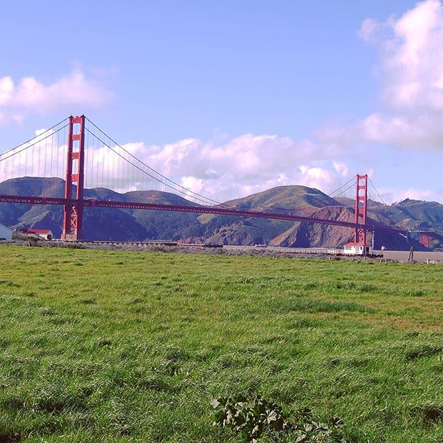 Walking by the Golden Gate Bridge in Crissy Field