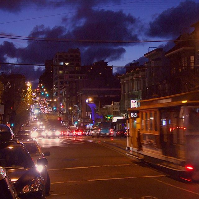 California Street Lights and Trolley at Dusk – San Francisco