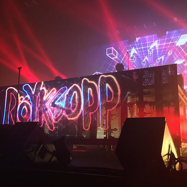 Röyksopp on stage at the Fox Theater in Oakland
