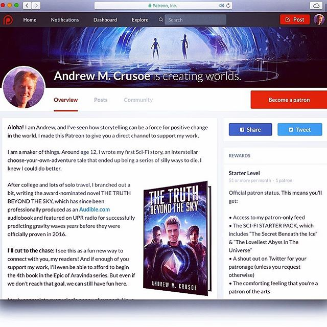 Andrew Crusoe - Epic of Aravinda Patreon Supporter Page is growing