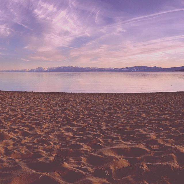 Lake Tahoe beach just before Sunset