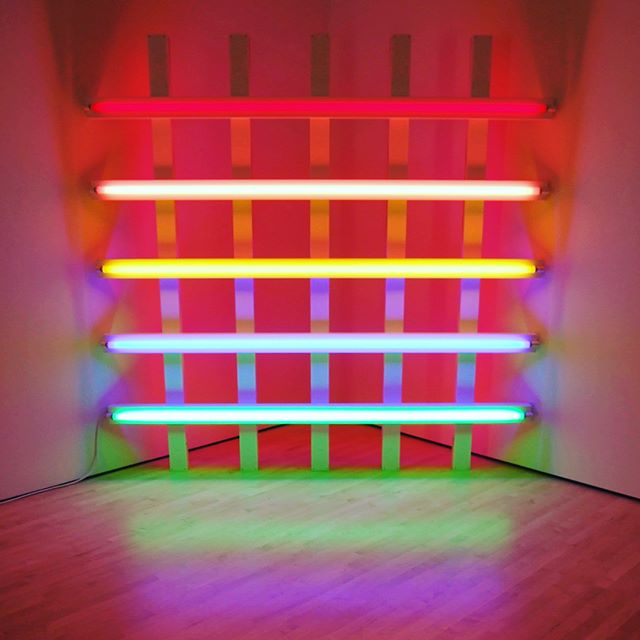 Dan Flavin's florescent light creations at SFMOMA