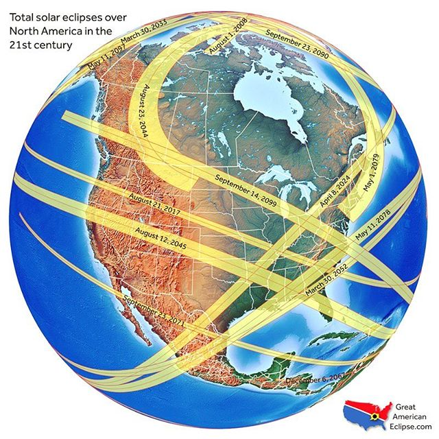 Infographic - Total Solar Eclipses over North America in the 21st century