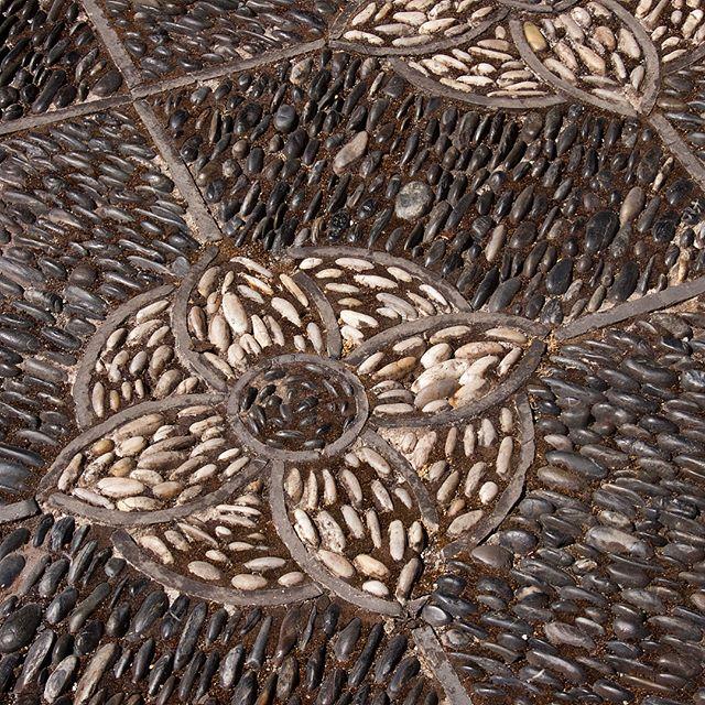 Lotus tile floor at Lan Su Chinese Garden