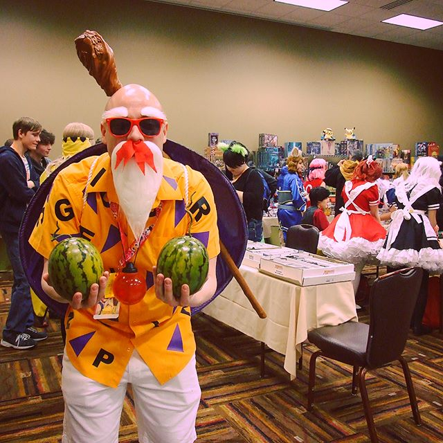 Master Roshi Cosplay in Tabletop room at DaishoCon 2017