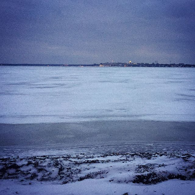Frozen coast of Lake Monona... can you see the Madison Capitol