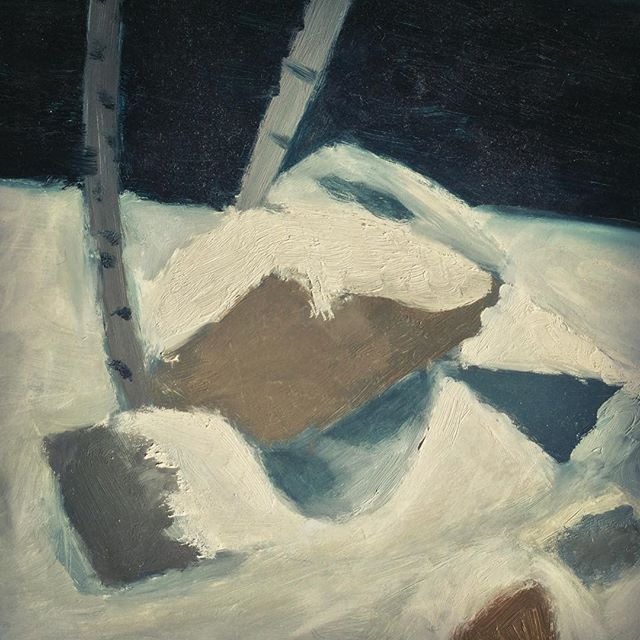 My Bad Painting of Snow on Rocks by a Road - Andrew Crusoe