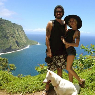 Sean Crowne, Ashley Campbell, and Nico dog in Hawaii