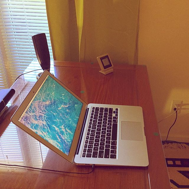 My minimalist desk in Wisconsin with MacBook Air