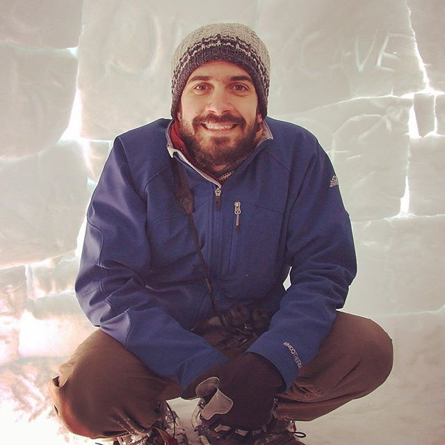 Andrew Durso in an igloo in Utah