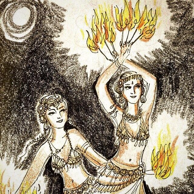 Fire Dancing Girls at Uncle Roberts by Kiki Kalahari illustration