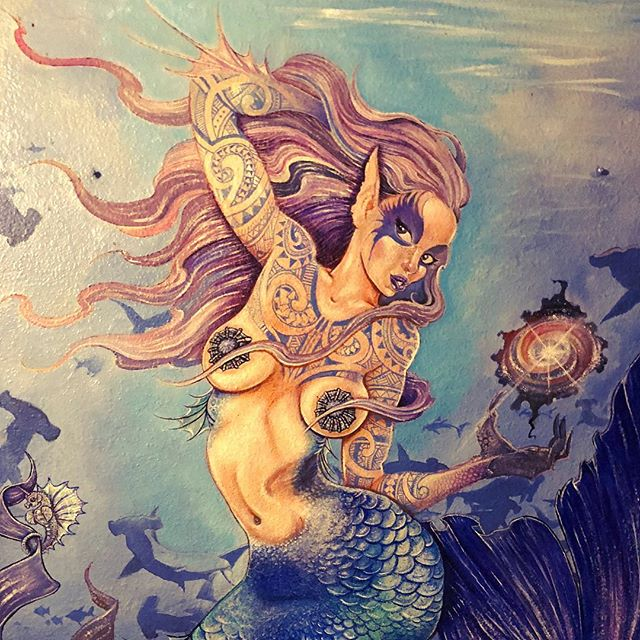 Local Mermaid Art in La Hiki Ola Kava Bar - Pahoa, Big Island, Hawaii