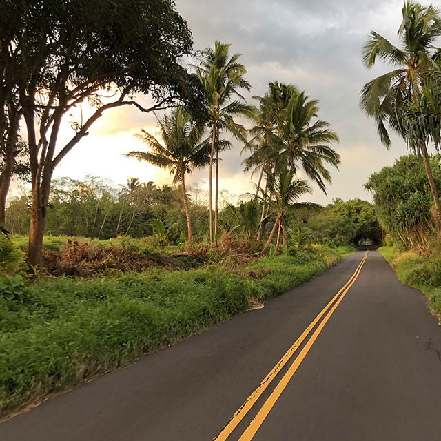 Biking down the Red Road bathed in Magic Light, Puna, Hawaii