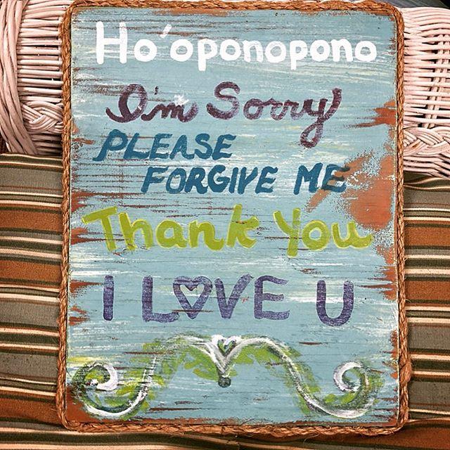 Painted sign outlining Hawaiian Pratice of Hoooponopono, Big Island, Hawaii