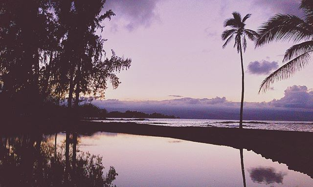 Seeing Mauna Kea peak from Richardson Beach at Sunset, Hilo, HI