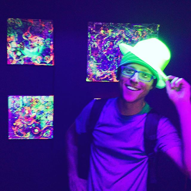Wearing a Neon hat at FluxxUashioN Gallery in Hilo, HI
